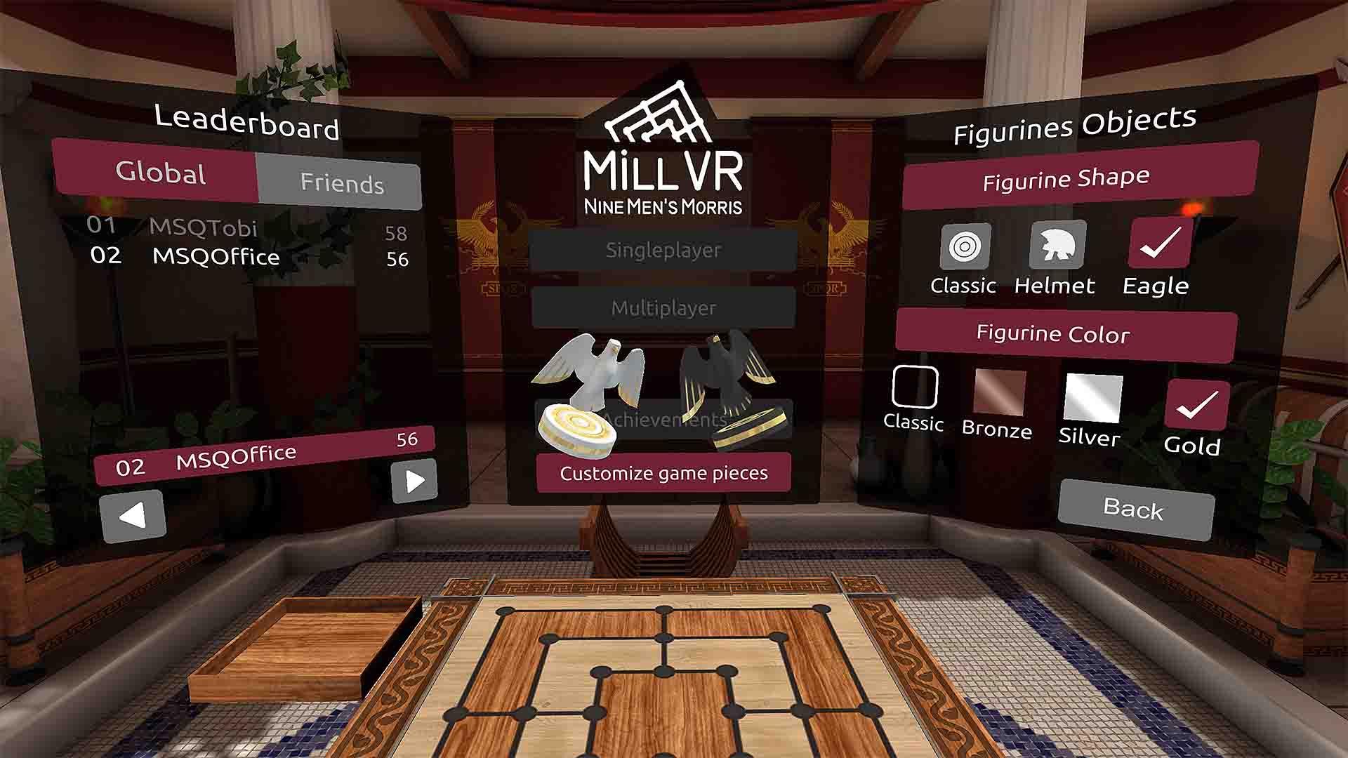 MSQ MillVR Hauptmenü